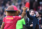 3rd December 2017, Twickenham Stoop, London, England; Aviva Premiership rugby, Harlequins versus Saracens; Quins mascots entertain the crowd