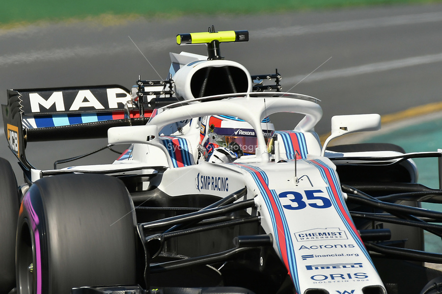 March 23, 2018: Sergey Sirotkin (RUS) #35 from the Williams Martini Racing team during practice session one at the 2018 Australian Formula One Grand Prix at Albert Park, Melbourne, Australia. Photo Sydney Low