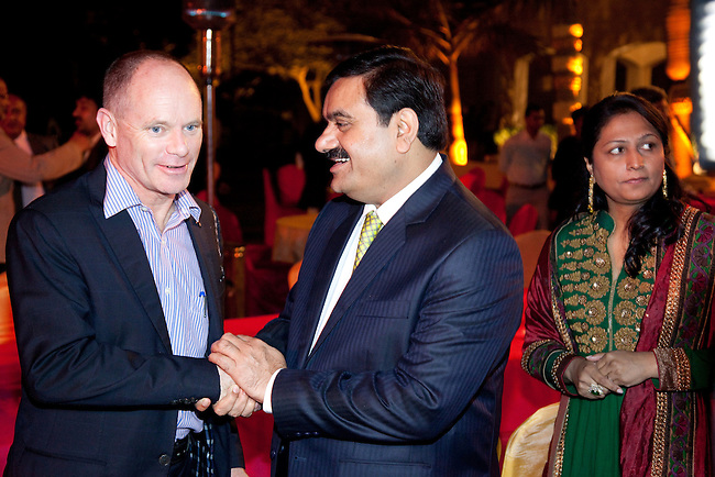 2 December 2012, Mundra, Gujurat, INDIA:  Queensland Premier Campbell Newman thanks Indian businessman Gautam Adani at his home on a visit to Gujurat. Guests were treated to a performance of Queensland orchestra act Deep Blue at a private concert at the home of Mr. Adani. Deep Blue are in India as part of Oz Fest.   Picture by Graham Couch/DFAT