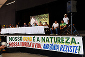 "Rio de Janeiro, Brazil. Imperatriz Leopoldinense samba school; preparations for carnival; press conference with a banner ""Our gold is nature. Our energy is life. Amazonia resists!""."
