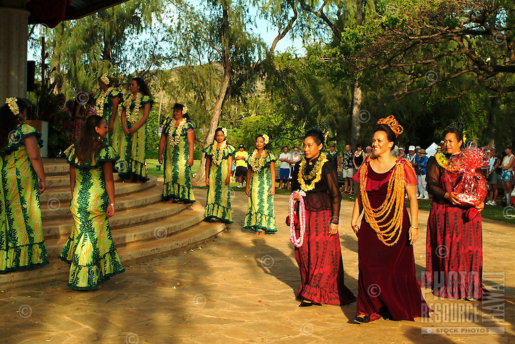 The lei day royal court in a performance at the Waikiki bandstand at Kapiolani park, Oahu