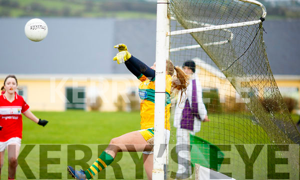 Kerry's Kate O'Sullivan in possession and trying to work her goal bound, but Corks Orlagh Farmer making it difficult in the opening round of the Lidl NFL Division1 on Sunday last in Knocknagoshel.