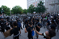 Protestors face off with police near the White House in Washington, D.C., U.S., on Monday, June 1, 2020, following the death of an unarmed black man at the hands of Minnesota police on May 25, 2020.  More than 200 active duty military police were deployed to Washington D.C. following three days of protests.  Credit: Stefani Reynolds / CNP/AdMedia