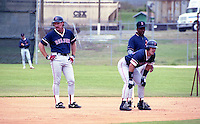 Boston Red Sox Wade Boggs, Phil Plantier and Al Bumbry during spring training circa 1992 at Chain of Lakes Park in Winter Haven, Florida.  (MJA/Four Seam Images)