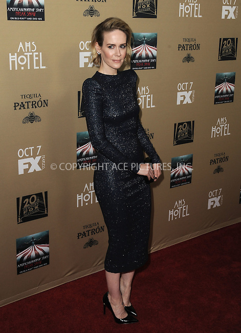 WWW.ACEPIXS.COM<br /> <br /> October 3 2015, LA<br /> <br /> Sarah Paulson arriving at the premiere of FX's 'American Horror Story: Hotel' at the Regal Cinemas L.A. Live on October 3, 2015 in Los Angeles, California.<br /> <br /> <br /> By Line: Peter West/ACE Pictures<br /> <br /> <br /> ACE Pictures, Inc.<br /> tel: 646 769 0430<br /> Email: info@acepixs.com<br /> www.acepixs.com