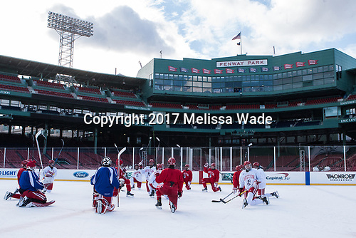 - The Boston University Terriers practiced on the rink at Fenway Park on Friday, January 6, 2017.The Boston University Terriers practiced on the rink at Fenway Park on Friday, January 6, 2017.