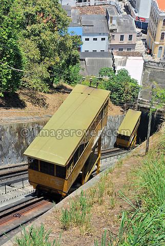 Brazil, Bahia, Salvador: The Plano Inclinado Goncalves (Goncalves Funicular Railway) from Praca da Sé provides a convenient way to travel between the Comercio neighbourhood and Pelourinho. --- No releases available.