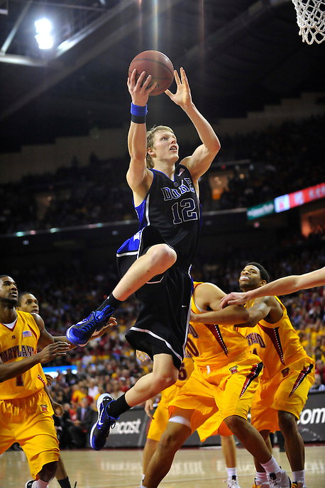 Kyle Singler of the Blue Devils goes up for a layup. Maryland defeated Duke 79-72 at the Comcast Center in College Park, MD on Wednesday, March 3, 2010. Alan P. Santos/DC Sports Box