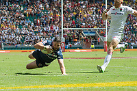 Twickenham, United Kingdom. 2nd June 2018, HSBC London Sevens Series. Game No. 16. Pool, C.  Danny BARRETT, dives in to touch down for first try, during the  England vs USA,  played at  the RFU Stadium, Twickenham, England, <br /> <br /> <br /> &copy; Peter SPURRIER/ Alamy Live News