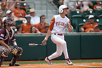 Texas Longhorns third baseman Erich Weiss #6 swings during the NCAA baseball game against the Texas A&M Aggies on April 28, 2012 at UFCU Disch-Falk Field in Austin, Texas. The Aggies beat the Longhorns 12-4. (Andrew Woolley / Four Seam Images).