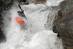 extreme kayaking scenic granite rapids on South Silver creek near Kyberz just off highway 50 south of Lake Tahoe, Ca.