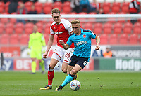 Kyle Dempsey of Fleetwood Town and Sebastien Des Pres of Fleetwood Town during the Sky Bet League 1 match between Rotherham United and Fleetwood Town at the New York Stadium, Rotherham, England on 7 April 2018. Photo by Leila Coker.