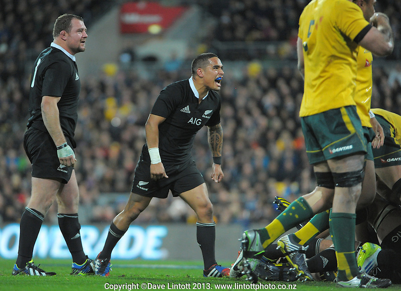 Aaron Smith celebrates winning an attacking scrum as Tony Woodcock looks on during the Rugby Championship international rugby Bledisloe Cup test match between All Blacks and Australia at Westpac Stadium, Wellington, New Zealand on Saturday, 24 August 2013. Photo: Dave Lintott / lintottphoto.co.nz