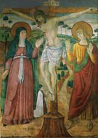 Palermo, Magione basilica, fresco, 15th century.<br /> Palermo, chiesa dela Magione, affresco della Crocifissione, XV sec.