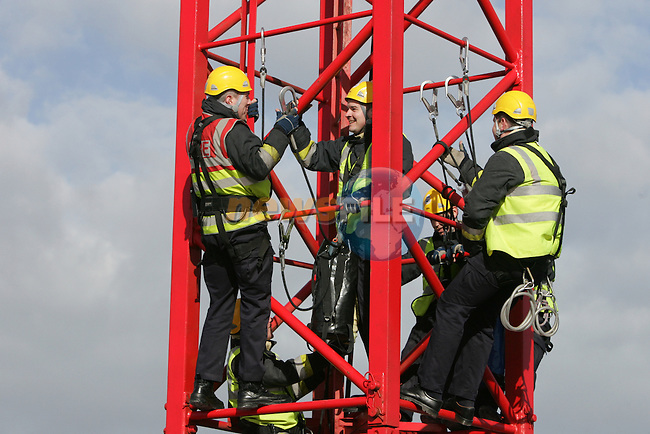 Drogheda Fires and rescue service personel, exercising rope work on a tower crane on a building site in Peter street Drogheda...Photo: Newsfile/Fran Caffrey.
