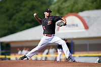 Batavia Muckdogs starting pitcher Chris Vallimont (32) delivers his first pitch during a game against the West Virginia Black Bears on July 1, 2018 at Dwyer Stadium in Batavia, New York.  Batavia defeated West Virginia 8-4.  (Mike Janes/Four Seam Images)
