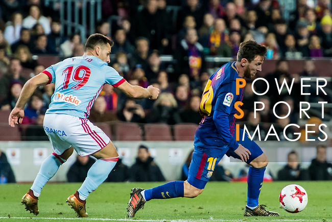 Lionel Andres Messi (R) of FC Barcelona is tackled by Jonathan Castro Otto, Jonny, of RC Celta de Vigo during the Copa Del Rey 2017-18 Round of 16 (2nd leg) match between FC Barcelona and RC Celta de Vigo at Camp Nou on 11 January 2018 in Barcelona, Spain. Photo by Vicens Gimenez / Power Sport Images