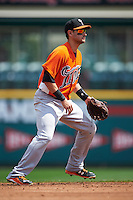 Norfolk Tides shortstop Paul Janish (11) during a game against the Rochester Red Wings on May 3, 2015 at Frontier Field in Rochester, New York.  Rochester defeated Norfolk 7-3.  (Mike Janes/Four Seam Images)