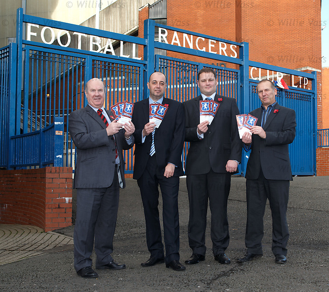 Ian Davidson MP, Gordon Dinnie and Andrew Sheppard from the Rangers Supporters Trust and Paul Goodwin from Supporters Direct Scotland outside Ibrox Stadium this morning for the launch of the Buy Rangers Campaign encouraging supporters to join together to buy a combined stake in the club.