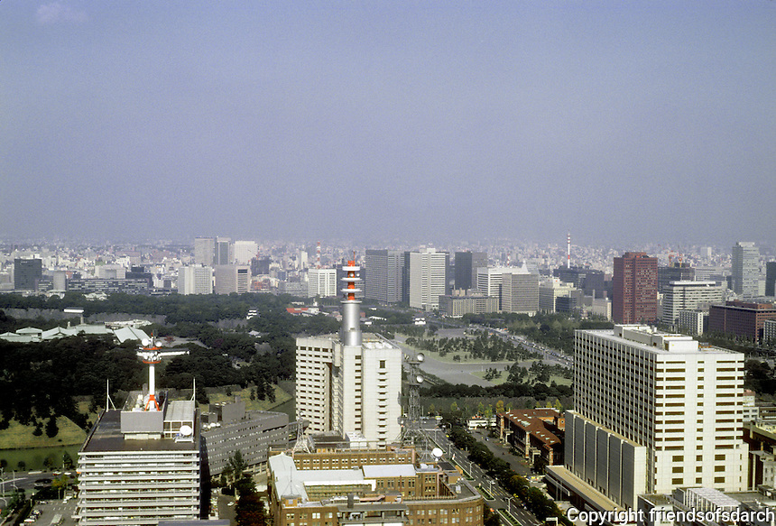 Tokyo: Panoramic view looking north to Imperial Palace from  Kasumigaseki Building. Photo '81.