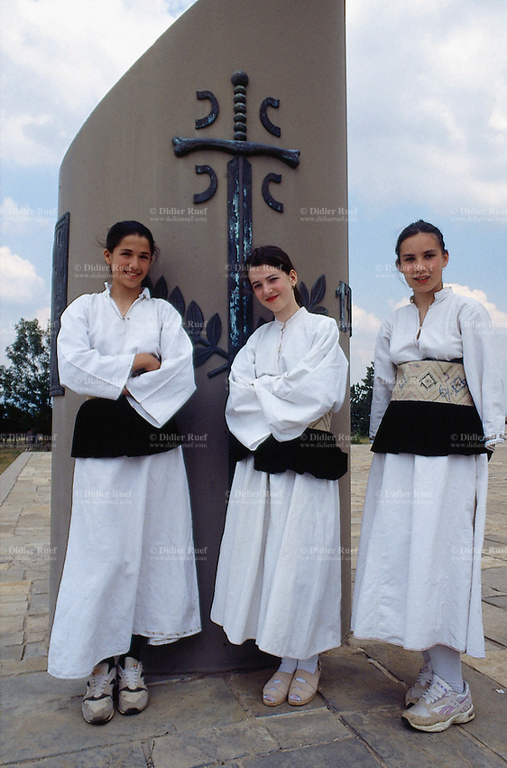 Kosovo. Kosovo Polje. Young serbs girls wearing traditional clothes stand close to the memorial. The Battle of Kosovo (or Battle of Amselfeld) was fought on St Vitus' Day (June 15, now celebrated on 28) 1389 between the coalition of Serb lords and the Ottoman Empire. Even though the Serbian army had lost it decisively, The Battle of Kosovo is seen by many Serbs as the first defining moment of the rise of their nation. The Ottomans invaded and met the Balkan coalition Army under Prince Lazar on 28 June 1389 at Gazi Mestan. Kosovo (Albanian: Kosova) is a province of Serbia. While Serbia's sovereignty is recognised by the international community, in practice Serbian governance in the Kosovo province is virtually non-existent.  © 1995 Didier Ruef ..