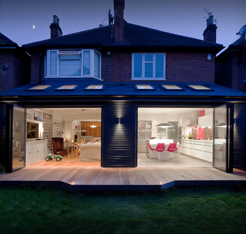 Open Window At Dusk: House Extension In Chiswick At Dusk, Shot From Garden And