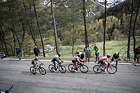 the Maglia Rosa / overall leader, Jan Polanc (SVK/UAE-Emirates) up the Colle San Carlo (Cat1/1921m/10.1km/9.8%)<br /> <br /> Stage 14: Saint Vincent to Courmayeur/Skyway Monte Bianco (131km)<br /> 102nd Giro d'Italia 2019<br /> <br /> ©kramon