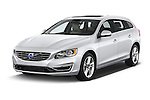 2015 Volvo V60 Xenium T5 Drive-E FWD 5 Door Wagon Angular Front stock photos of front three quarter view