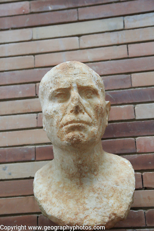 Bust of man, Museo Nacional de Arte Romano, national museum of Roman art, Merida, Extremadura, Spain 1st century AD