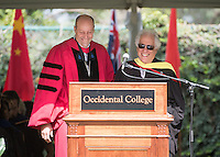President Jonathan Veitch confers emeritus status to retiring professor Robert Gottlieb at Occidental College's 133rd Commencement at the Remsen Bird Hillside Theater, on Sunday, May 17, 2015.<br /> (Photo by Marc Campos, Occidental College Photographer)