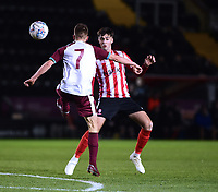Lincoln City U18's Ellis Chapman vies for possession with South Shieldsy U18's Will McCamley<br /> <br /> Photographer Andrew Vaughan/CameraSport<br /> <br /> The FA Youth Cup Second Round - Lincoln City U18 v South Shields U18 - Tuesday 13th November 2018 - Sincil Bank - Lincoln<br />  <br /> World Copyright © 2018 CameraSport. All rights reserved. 43 Linden Ave. Countesthorpe. Leicester. England. LE8 5PG - Tel: +44 (0) 116 277 4147 - admin@camerasport.com - www.camerasport.com