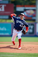 Reading Fightin Phils starting pitcher Jerad Eickhoff (43) delivers a pitch during the first game of a doubleheader against the Portland Sea Dogs on May 15, 2018 at FirstEnergy Stadium in Reading, Pennsylvania.  Portland defeated Reading 8-4.  (Mike Janes/Four Seam Images)