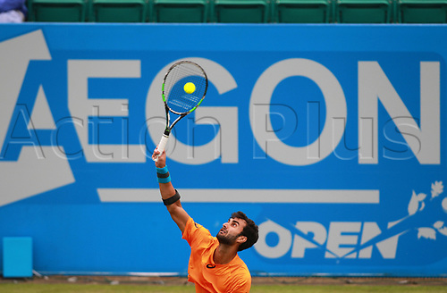 June 12th 2017,  Nottingham, England; WTA Aegon Nottingham Open Tennis Tournament day 3; Yuki Bhambri of India serves to Jay Clarke of Great Britain