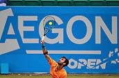 June 12th 2017,  Nottingham, England; WTA Aegon Nottingham Open Tennis Tournament day 3; Yuki Bhambri of India serves to Jay Clarke of Great Britain