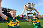 Colm Gooch Cooper and Aidan O'Mahony celebrate after Kerry's victory over Donegal in Croke Park in 2014.<br /> Picture by Don MacMonagle