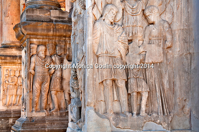 The details at the bottom of the Arch of Constantine in Rome, Italy