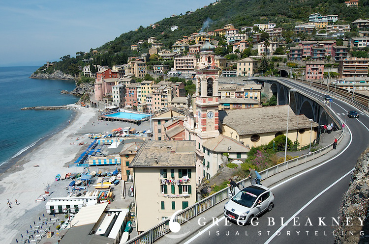 The seaside road near Rapallo, the VeloNews rent-a-car in white--Stage 4.