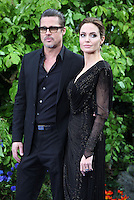 Brad Pitt and Angelina Jolie arriving for the Maleficent Private Costume Reception, at Kensington Palace, London. 08/05/2014 Picture by: Alexandra Glen / Featureflash