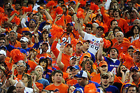 Jan. 4, 2010; Glendale, AZ, USA; Boise State Broncos fans in the crowd against the TCU Horned Frogs in the 2010 Fiesta Bowl at University of Phoenix Stadium. Boise State defeated TCU 17-10. Mandatory Credit: Mark J. Rebilas-