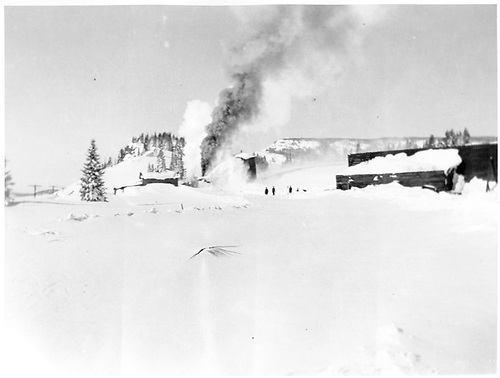 Rotary snowplow clearing drifts near Cumbres snowshed.<br /> D&amp;RGW  Cumbres, CO