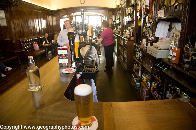 Pint of beer on bar, The Grill Bar, Aberdeen, Scotland