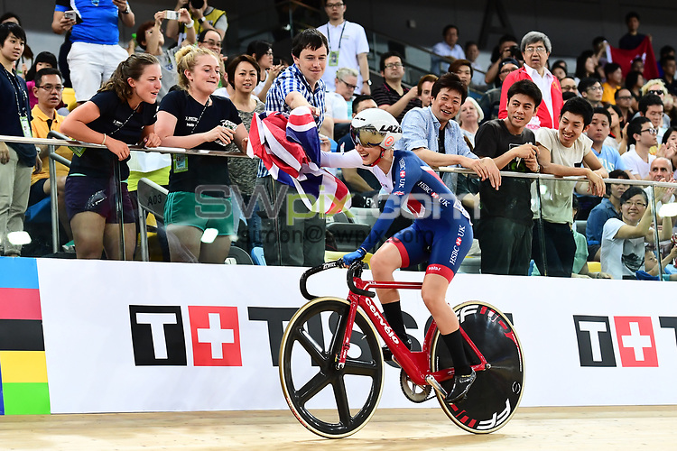 Picture by SWpix.com - 16/04/2017 - Cycling - 2017 UCI Track Cycling World Championships, Day 5 - Hong Kong Velodrome, Tseung Kwan O, Hong Kong - Womans Points Race Final - BARKER Elinor of Great Britain of Great Britain celebrates Gold with team mates LLOYD Manon and KAY Emily