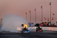 Mar. 7, 2009; Bakersfield, CA, USA; Nostalgia top fuel driver Mike McLennan explodes an engine during qualifying for the 51th annual March Meet at the Auto Club Famoso Raceway. Mandatory Credit: Mark J. Rebilas-