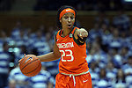 18 January 2015: Miami's Adrienne Motley. The Duke University Blue Devils hosted the University of Miami Hurricanes at Cameron Indoor Stadium in Durham, North Carolina in a 2014-15 NCAA Division I Women's Basketball game. Duke won the game 68-53.