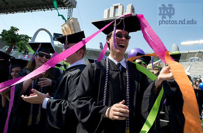 May 20, 2012; Architecture graduates celebrate during the 2012 Commencement ceremony at Notre Dame Stadium. Photo by Barbara Johnston/University of Notre Dame