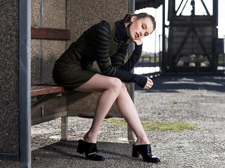 Sunday Mail, Fashion with Cimon Vozzo , Military fashion, at Port Adelaide , Model Logan from Azalea Models. Photo: Nick Clayton