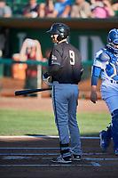 Zachery Almond (9) of the Missoula Osprey bats against the Ogden Raptors at Lindquist Field on July 12, 2018 in Ogden, Utah. Missoula defeated Ogden 11-4. (Stephen Smith/Four Seam Images)