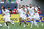 21 June 2007:  Members of the United States team limber up, pregame.  From left: Michael Bradley, Jonathan Bornstein, Taylor Twellman, Pablo Mastroeni, Carlos Bocanegra, Oguchi Onyewu, Clint Dempsey. The United States Men's National Team defeated the national team of Canada 2-1 in a CONCACAF Gold Cup Semifinal match at Soldier Field in Chicago, Illinois.