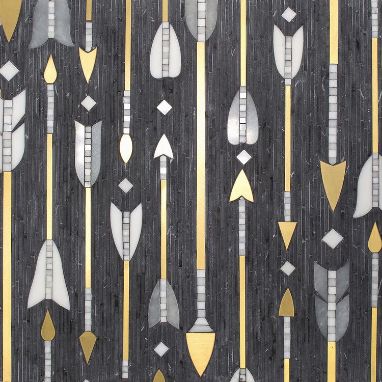 """Arrow Rows, a hand-cut stone mosaic, shown in tumbled Nero Marquina, polished Allure, Dolomite, Calacatta Radiance, and Brass, is part of Cean Irminger's second KIDDO Collection, """"KIDDO: Wunderkammer® Edition"""" for New Ravenna."""