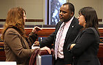 Nevada Assembly members, from left, Marilyn Kirkpatrick, D-North Las Vegas, Jason Frierson and Irene Bustamante Adams, both D-Las Vegas, talk on the Assembly floor Friday, March 4, 2011 at the Legislature in Carson City, Nev..Photo by Cathleen Allison